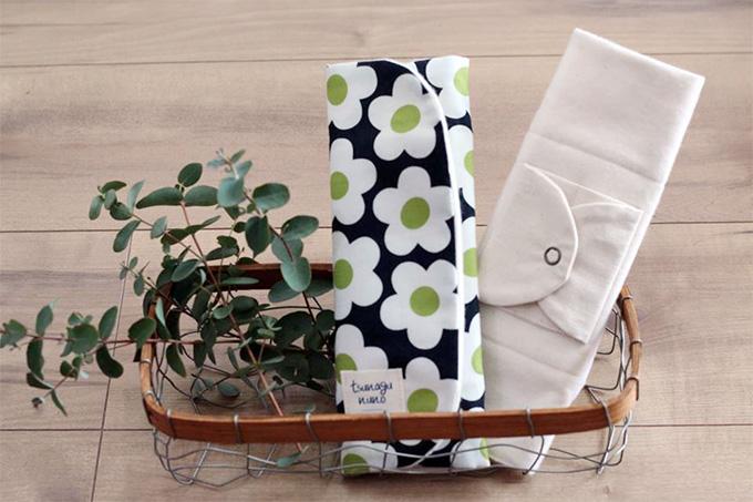 tsunagununo(ツナグ布)オリジナル布ナプキン「三つ折りナプキン」テキスタイルフラワー